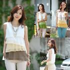 New Women Chiffon Blouse Strap Tank Tops Camisole Vest Summer Shirt Size 0-14