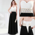 White Black Formal Cocktail WEDDING Long Bridesmaid Evening Prom Party Dress New