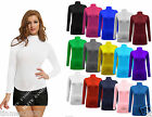 New Womens Ladies Long Sleeve Turtle Polo Neck Top Tshirt Plain Tops Plus Size