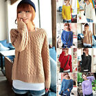 Womens Chunky Cable Knitted Crew Neck Long Sleeve Tops Jumper Knitwear Sweater