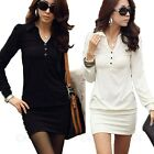 Shirt Long Sleeve Solids One Piece Womens Casual Ladies Dress AU sz 6-14