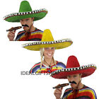 LARGE SOMBRERO GREEN YELLOW RED MEXICAN PARTY FANCY DRESS COSTUME CIGAR TASH