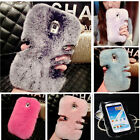 Bling Crystal Soft Warmly Rabbit Hair Luxury Fluffy Fur Case Cover For Phones