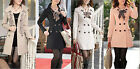 Precision Fine Women Long Sleeve Trench Double Breasted Coat Jacket + Scarf TBUS