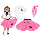3 pc Toddler Poodle Skirt Outfit (1950s Retro Baby Halloween Costume Clothing)