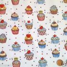 "per 1/2 metre/ FQ 100 % cotton birthday cupcakes 44""wide WHITE"