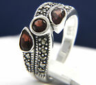 925 Sterling Silver 0.29 ct Garnet Three-Stone CZ Engagement Ring