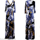 BLUE GRAY LARGE FLORAL Beautiful MAXI DRESS Jersey Wrap LONG Skirt vtg S-M-L