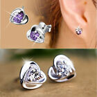 New Silver Plated Heart Purple Crystal Shiny Ear Stud Earrings Lady Fashion