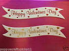 10 RED OR GOLD HAPPY VALENTINES DAY SENTIMENT BANNER CARD MAKING EMBELLISHMENTS