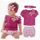 New Baby Girls top+short pant Out-fit+3pcs Set size6-18M