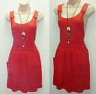 CUTE TOPSHOP RED JERSEY PINAFORE DUNGAREE SKATER MINI DRESS CELEBRITY FREE POST