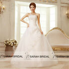 A-line Simple White Wedding Dresses Strapless Bridal Ball Gown Lace Appliqued