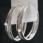 Silver Frosted Hoop Earrings for Womens Fashion Wedding Bridal Jewelry 1-3pairs