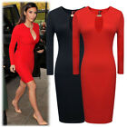 Womens Vintage OL Business Casual Slim Medium Sleeve Fit Cocktail Evening Dress