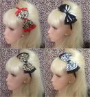 "LEOPARD ANIMAL PRINT ALICE HAIR HEAD BAND 5"" DOUBLE BOW VINTAGE STYLE GLAMOUR"