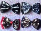 "BLACK & ANIMAL PRINT 5"" SATIN DOUBLE BOW HAIR CLIP VINTAGE GLAMOUR ROCKABILLY"