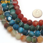 "Natural Stone Round Matte Striped Agate Onyx Beads For Jewelry Making 15"" 6-14mm"