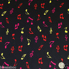 per 1/2 metre/FQ Black/multicoloured musical notes  fabric 100% COTTON