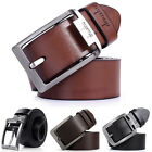 Men's Belts Waistband Casual Dress Leather Pin Metal Buckle Strap Black Brown