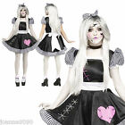 LADIES SEXY BROKEN ZOMBIE BABY DOLL HALLOWEEN FANCY DRESS COSTUME WITH TIGHTS