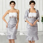 VINTAGE Formal Bridesmaid Dress Evening Party Prom Gown Short Dress Free Jacket