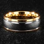 18k Gold Tungsten Carbide Wedding Band Silver Dome Bridal Ring Comfort Fit 8MM