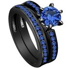Size 4-12 Black Rhodium Blue Sapphire Ring Band Wedding Anniversary Engagement