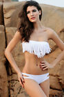 Fringe Swimsuit White Medium Large 2 Piece Swimwear Spring Break Bandeau