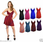 NEW WOMENS LADIES STRAPPY SWING CAMI MINI SHORT PARTY DRESS FLARED PLUS SIZE