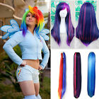 New Long Straight Full Wig Rainbow Hair Lolita Multicolor With Ponytails Cosplay