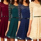 Crochet Party 3/4 Sleeve Vintage Mini Lace Dress Belted Womens Cocktail dresses