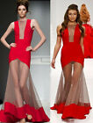 New Red Sexy Long Prom Dress Sleeveless Lace Formal Evening Party Wedding Gown