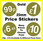 20mm Gold Price Stickers POS/ Sticky Labels £1 £1.29 £1.39 £1.79 £1.89 £2 £5 £10