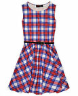 Girls Red Check Skater Dress Kids Party Dresses New Age 7 8 9 10 11 12 13 Years