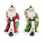 Large Santa Claus Glass Bauble  Hanging Christmas Tree Figurine - Two Colours