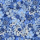 PACKED FLOWERS - BLUE - ORIENTAL BLUE by MAKOWER 100% COTTON FABRIC PATCHWORK