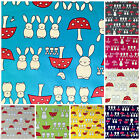 Bunny & toadstools childrens 100 % cotton poplin fabric 8 colours -  cute
