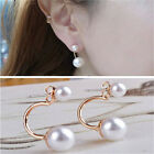 New Fashion Lady Gold Plated Filled Double White Freshwater Pearl Stud Earrings