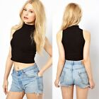 May&Maya Women's Black Sleeveless Evening Crop Top Tee Shirt Bustier Tank Cami