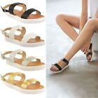 LADIES WOMENS NEW SUMMER FLAT SLIP ON FLATFORMS BEACH HOLIDAY SANDALS SHOES SIZE