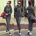 Womens Casual Long Hooded Hoodie Sweatshirt Jumper Bodycon Maxi Long Dress Skirt