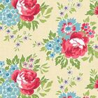 FOR YOUR LOVE LARGE FLORAL MAIN - CREAM by MAKOWER 100% COTTON FABRIC PATCHWORK