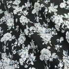 per 1/2 metre/FQ Eliza Rose black grey & ivory fabric 100% COTTON POPLIN