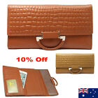 Quality Genuine Leather Ladies Womens Tri-Fold Wallet Purse Brown/Tan