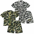 Boys Camo Shorts Vest Top Outfit Kids Army 3pc Set New Age 2 3 4 5 6 7 8 Years