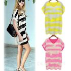Summer Long Top Ladies Shirt Womens stripes Dress UK sz 8-18