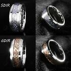 8MM Gold Silver Celtic Dragon Tungsten Carbide Carbon Fiber Wedding Band Ring