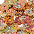 50Pcs Painted Wood Wooden Buttons Beads Scrapbook Craft Clothing Sewing Button