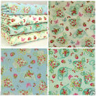 Little tea shop fabric 100% cotton dressmaking craft mint cream ivory blue